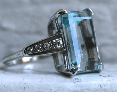 Diamond and Aquamarine Ring Crafted in White Gold