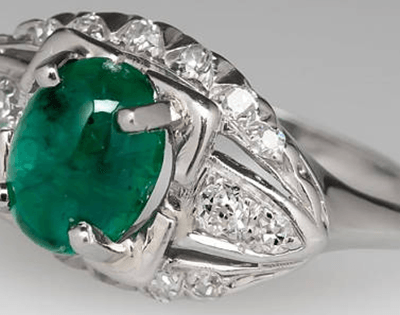 Diamond and Emerald Vintage Ring