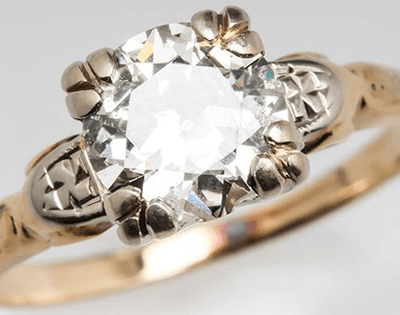 Diamond and Gold Retro Ring with Floral Design