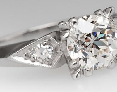 Kite Shaped Vintage Ring w Diamond and Platinum