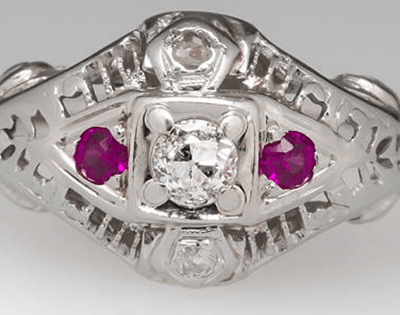 Vintage Engagement Ring – Diamond, Ruby, and 18 K Gold